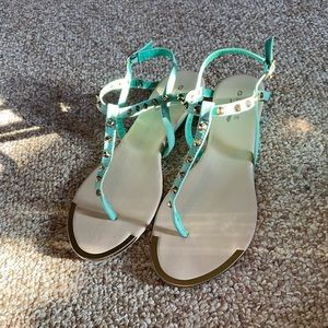 New:Teal/Mint,U.S. size 8, Studded Strappy Sandals